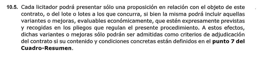 Significado: Se admiten mejoras…… evaluables económicamente…..